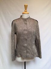 WOMEN'S MAXMARA BLEND OF TAN/BROWN JACKET W/ BROWN STRIPING DOWN ARMS-SIZE 46