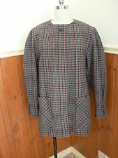 VINTAGE JUNIOR LOOK AUST WOOL CHECK TWEED COAT JACKET WINTER GREY RED BLACK 14