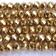 100Pcs  Metallic Gold AB2x Opal  Czech Crystal Faceted Rondelle Spacer Bead 6MM