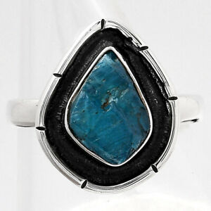 Neon Blue Apatite Rough - Madagascar 925 Sterling Silver Ring s.7.5 Jewelry E045