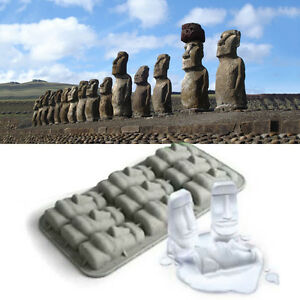 New Easter Island Moai Stone Statues Ice Tray Cubes DIY Mould Pudding Mold-e mi