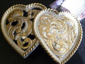 DOUBLE HEARTS  HEAVY GOLD & SILVER PLATED BELT ON JEWELER'S  BRONZE BELT BUCKLE