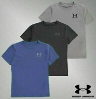 Boys Under Armour Lightweight Crew Top Charged Cotton T Shirt Sizes Age 7-13 Yrs