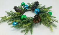 Bath Body Works 3 wick candle ring holder blue green ornaments pinecone wreath