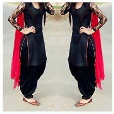 Indian Designer Black Punjabi Patiala Salwar Kameez Suit Dress Material Women