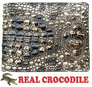 Unique Genuine Alligator Crocodile Skin Leather Mens Bifold Wallet