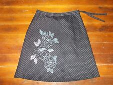 Ann Taylor Pinstriped A Line Wrap Floral Career Black Skirt Size 6 P NEW NWT