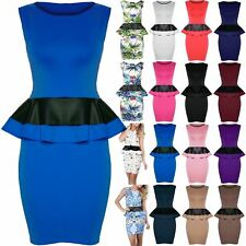 Womens Ladies Sleeveless Floral Printed PVC Leather Peplum Frill Bodycon Dress