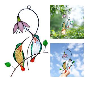 Stained Glass Hummingbird Suncatcher Birds Windows Hangings Metal Decoration