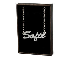 With Name - Anniversary Bridal Christmas Sofie 18ct White Gold Plating Necklace
