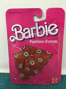 NISP VINTAGE 1984 BARBIE FASHION EXTRAS #7961 RED PRINT SKIRT ~NEW SEALED