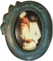 Terra Cotta Blue/Gold Glazed Pottery Oval Picture Frame With Ribbon Accent