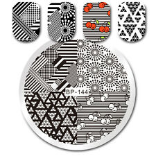 Nail Stamping Plate Cherry Geometry Design Nail Art Round Template Born Pretty