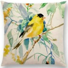 Bird Painting Cushion Cover Cotton Linen Pillow Case Waist Cover Home Decor Gift