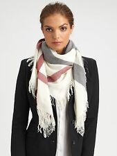 Burberry Ivory Check Square Scarf 100% Merino Wool NEW!!