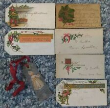 Lot Of 7 Antique Victorian Christmas Gift Tags Labels