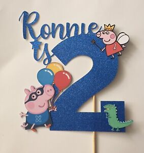 Personalised Peppa Pig George Glitter Cake Topper Birthday Party Girls Boys