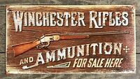 WINCHESTER Rifles and Ammunition For Sale Here Vintage Tin Metal Sign