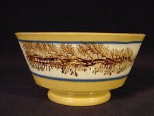 RARE 1800s BROWN SEAWEED TEA BOWL MOCHAWARE MOCHA YELLOW WARE