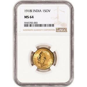 1918 I India Gold Sovereign - NGC MS64