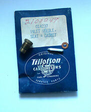 TILLOTSON HD CARBURETOR INLET NEEDLE, SEAT & GASKET NEW OLD STOCK PN 014237