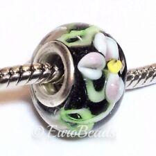 FLORAL LAMPWORK_Murano Glass Bead Fits Silver European Charm Bracelet Flower_B54