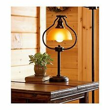 Antique Bronze Library Desk Lamp Light Amber Glass Shade Old Fashion Electric