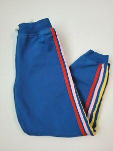 Hanna Andersson Rainbow Side Stripe Sweatpants size 140 (10) blue