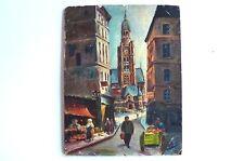 Huile sur panneau d'isorel  Eglise Saint-Etienne du Mont Paris Signé