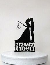 Custom Wedding Cake Topper-Hooked on Love 2 with Initials and Mr&Mrs last name
