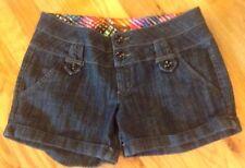 Copper Key Womens Shorts Stretch Dark Wash Denim Cotton Button Zip 9