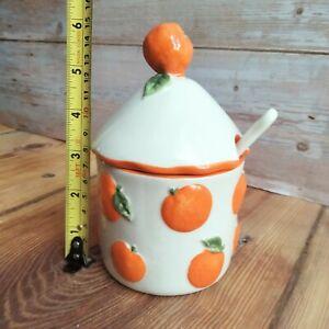 Vintage Jam or Preserve Pot, Orange Pot, Marmalade Pot, Novelty Homewares, Vinta