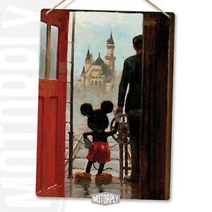 Metal Wall Sign - Mickey Holding Hands - Castle Mickey Disney Motivation