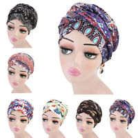 Boho Printed Headscarf Women Muslim Hijab Hat Islamic Turban Wrap Cotton Caps
