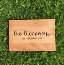 Personalised Name/Date Chopping Board Beech Laser Engraved Wedding Gift Idea