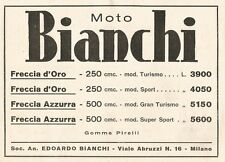 W2713 Moto BIANCHI - Listino prezzi - Pubblicità del 1940 - Old advertising