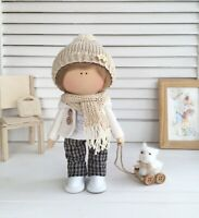 Handmade fabric doll boy for home decor and interior design 10'' gift toy