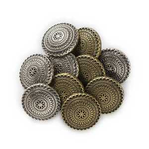 5pcs Round Retro Metal Shank Buttons Coat Clothing Repair Sewing Replace Decor