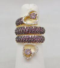 Rare 2.45 ctw Pink Sapphire & Rose de France 18K Gold Cocktail Snake Heart Ring