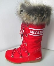 Tecnica Moon Boot Monaco rouge taille 42 moon boots red fausse fourrure synthetique Fake Fur High