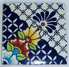 """90 Mexican Talavera Clay Tiles Handcrafted 4 x 4""""  C183"""