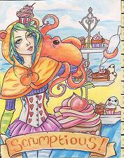 Belle ILLUSTRATION ORIGINALE ~ succulent kawaii gâteaux Octopus ~ Mortimer Sparrow