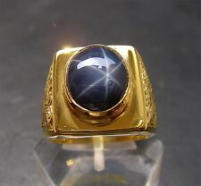 Men's 18K Solid Gold Natural Blue Sapphire Dragon Ring