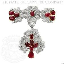 18K White Gold Ruby and Diamond Brooch (J3794)