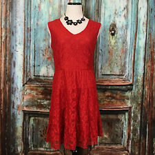 American Rag Solid Red Lace Dress Fit & Flare Knee Length Sleeveless Large L B49