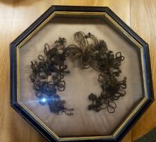 Outstanding 19th C. Victorian Mourning Hair Wreath~Original Octagonal Shadowbox