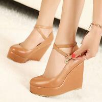 Womens Mary Jane Platform Wedge Buckle Cross New Collegiate Heel Pumps Shoes Sz