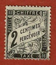 FRANCE: TIMBRE TAXE:N°11: 2 centimes Noir au type DUVAL, Oblitéré (petit aminci)