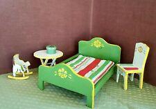 VTG Dollhouse Bed Mattres Assorted Furniture 1950s Handmade Handpainted