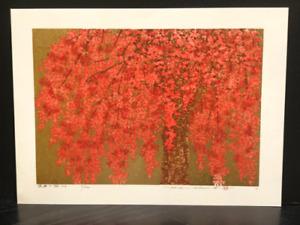 "Hajime Namiki Japanese Original Woodblock Print ""Weeping Cherry-24"" 2019"